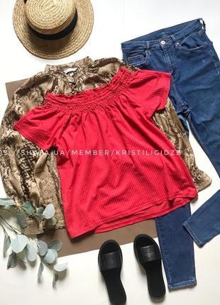 Красная футболка с открытыми плечами vero moda s