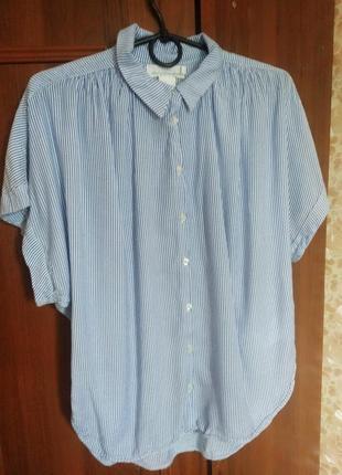 Блуза рубашка короткий рукав овесайс
