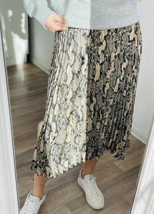 Стильная плиссированная миди юбка, юбка миди h&m 1+1=3