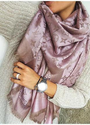 Роскошный двусторонний розовый / бежевый шарф - палантин из шелка и кашемира / платок