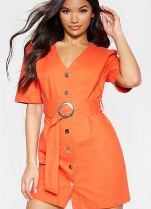 Оранжевое джинсовое платье на пуговицах-кнопках с поясом