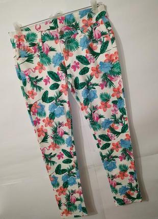 Джинсы брюки стрейчевые хлопковые в тропический принт esmara uk 14/42/l