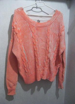 Стильный яркий оранжевый вязанный коттоновый свитер grunt girl с длинным рукавом