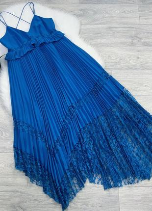 Бирюзовое плиссированное платье миди