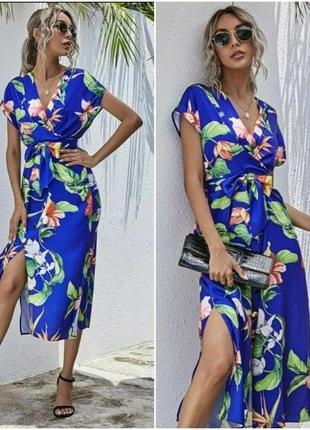 Атласное  платье  zara в тропическом стиле s-m , l-xl