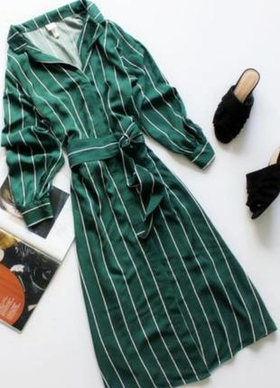 Красивое длинное платье рубашка  зеленое в полоску