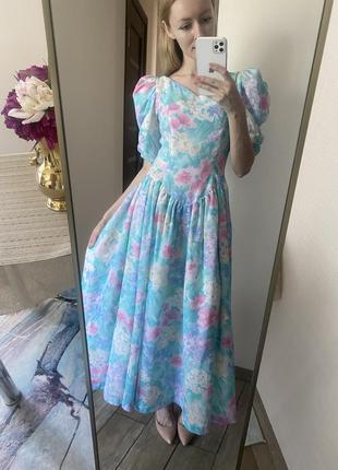 Винтаж. красивое пышное платье с цветочным узором