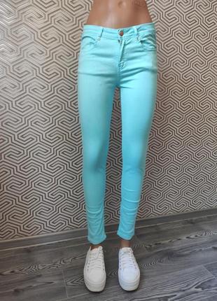 Джинсы голубые яркие летние skinny скини zara trafaluc premium wash collection