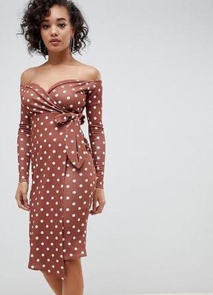 Миди платье  горошек с открытыми плечами