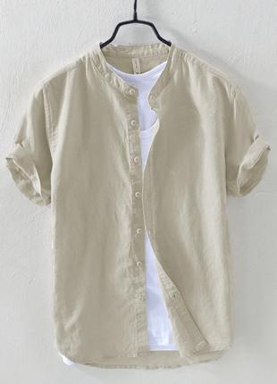 Мужская бежевая льняная рубашка с коротким  рукавом