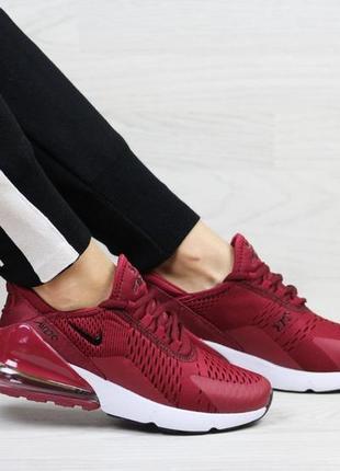 Модные женские кроссовки nike air max 270 бордовые,сетка,летние