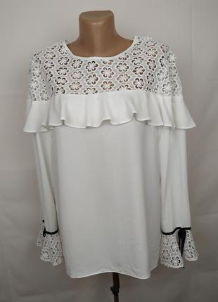 Блуза шикарная белая с кружевной кокеткой lipsy uk 14-16