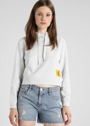 Organic cotton cropped hoodie, худи calvin klein jeans, xs