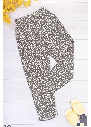 Двухцветные брюки в принт женские штаны штани с высокой посадкой завышенной талией на резинке