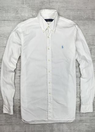 Белая хлопковая рубашка polo ralph lauren мужская оригинал купить украина
