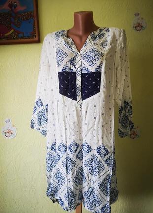 Летняя накидка в стиле бохо, пляжная туника, платье белое с синим