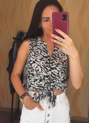 Блуза с принтом, безрукавка, рубашка короткий рукав размер xs-s jacqueline de young