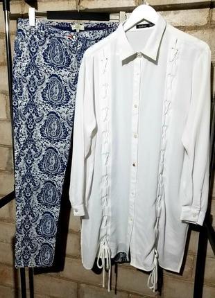 Комплект вещей рубашка блуза удлиненная и брючки