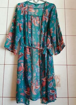 Пляжный шифоновый халат с цветочным принтом