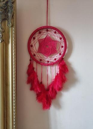 Красный ловец снов, диаметр 15 см