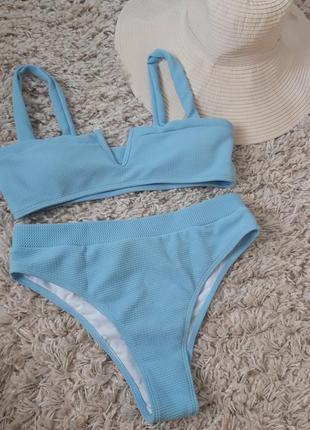 Шикарный стильный раздельный купальник в голубом цвете, shein, p. m-l