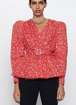 Zara блуза в цветочный принт