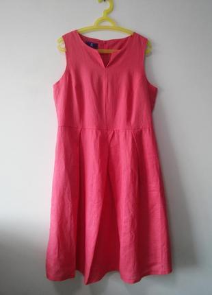 Шикарное льняное платье с карманами