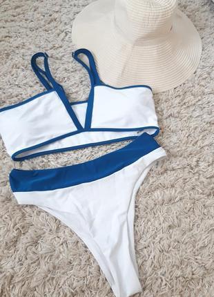 Шикарный стильный раздельный купальник белый,shein, p m-l