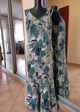 Вискозно-льняное платье 👗большого размера