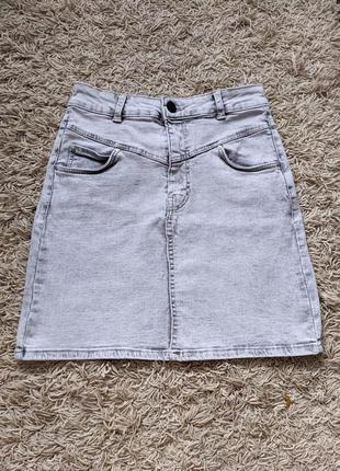 Юбка стрейч/серая юбочка на лето bershka xs,s/облегающая юбка джинс на высокой посадке/спідниця