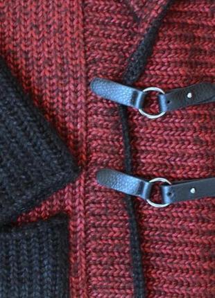 Вязаный кардиган пальто кофта тёплая удлиненная накидка полушерстяная ручная работа6 фото