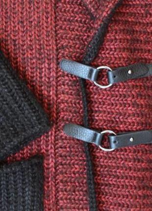 Вязаный кардиган пальто кофта тёплая удлиненная накидка полушерстяная ручная работа8 фото