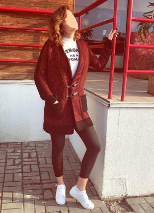 Вязаный кардиган пальто кофта тёплая удлиненная накидка полушерстяная ручная работа7 фото
