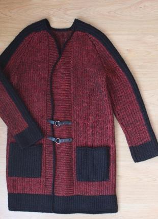 Вязаный кардиган пальто кофта тёплая удлиненная накидка полушерстяная ручная работа3 фото
