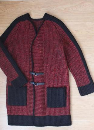 Вязаный кардиган пальто кофта тёплая удлиненная накидка полушерстяная ручная работа9 фото