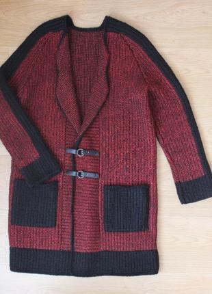 Вязаный кардиган пальто кофта тёплая удлиненная накидка полушерстяная ручная работа2 фото