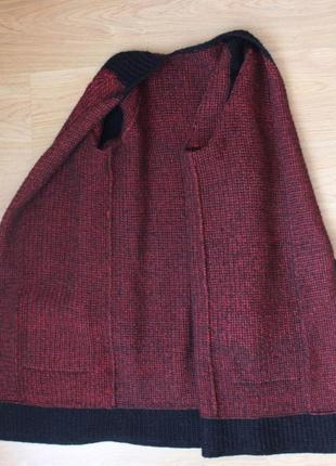 Вязаный кардиган пальто кофта тёплая удлиненная накидка полушерстяная ручная работа5 фото