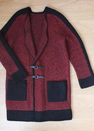 Вязаный кардиган пальто кофта тёплая удлиненная накидка полушерстяная ручная работа10 фото