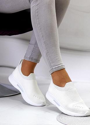 Модные текстильные эластичные белые женские кроссовки