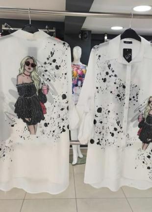 Шикарная блуза,рубашка,модный принт, люкс качество, размер универсальный.