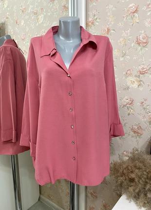 Новая розовая блуза на пуговицах кристаллах большого размера, батал bonmarche 1+1=3