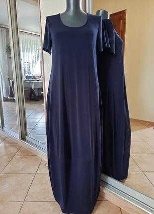Шикарное вискозное с карманами в стиле бохо платье 👗большого размера