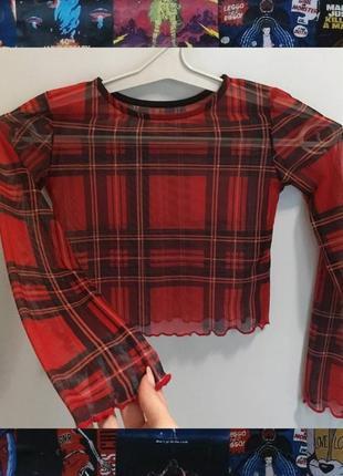 Топ с длинными рукавами прозрачный сетка шотландка в клетку сеточка красная