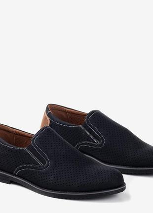 Черные мужские туфли с ажурным верхом lonberg (r-00024)
