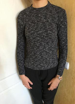 Серо-черный джемпер/свитер в рубчик / гольф