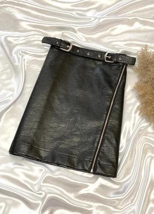 Кожаная юбка с поясом большого размера george 1+1=3