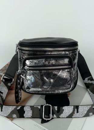 Женская кожаная сумка через плечо с широким текстильным ремешком жіноча шкіряна сумочка