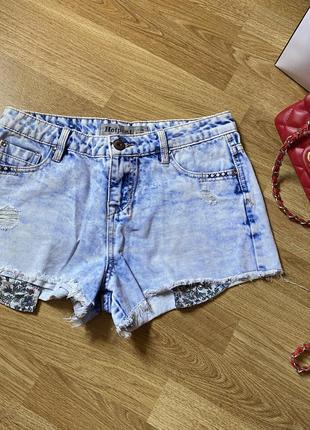 Шорты короткие джинсовые рваные  с необработанным краем