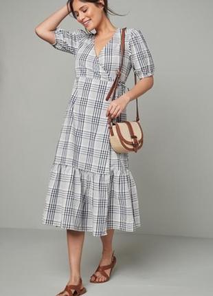 Хлопковое платье-миди в клетку на запах / платье халат с воланом в стиле zara как новое
