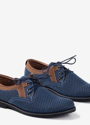 Туфли мужские темно-синие с ажурным верхом дерби (r-00025)